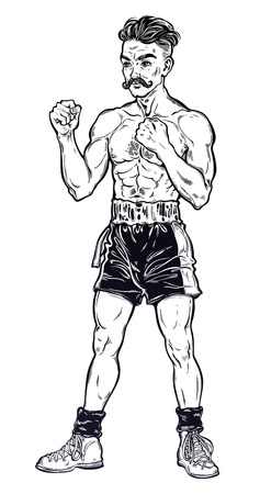 Vintage retro boxer fighter, player illustration. Ilustracja