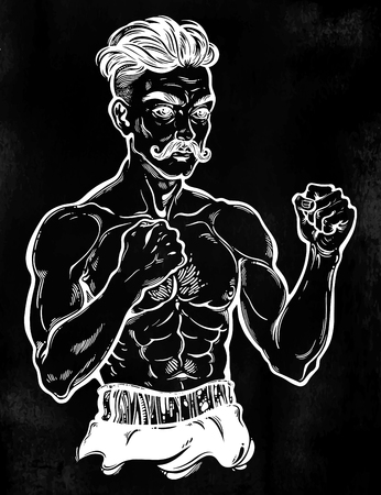 Vintage retro boxer fighter, player illustration. Stock Photo