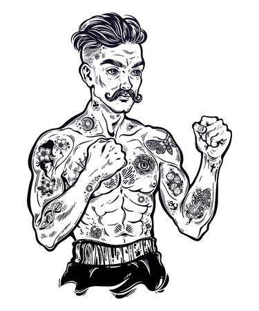 Tattooed boxer fighter icon Illustration