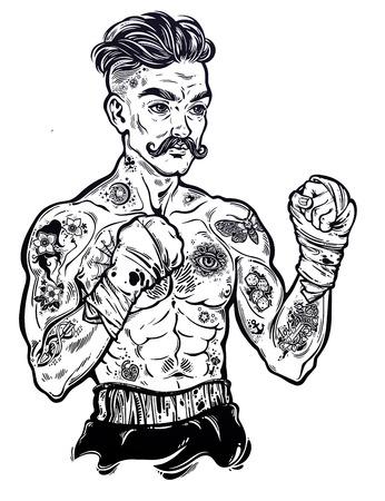 Vintage tattooed retro boxer fighter champion. Stock Photo
