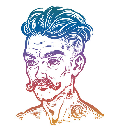 Portrait of inked moustached man with short hair.