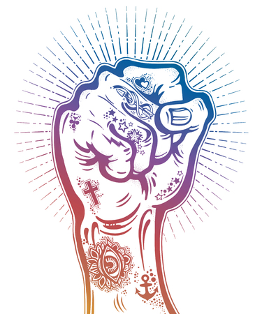 Raised inked hand as a fist gesture with flash tattoos. Concept of a rock concert, protest fighter symbol. Power sign of freedom revolution. Rights activism, rebellion. Isolated vector illustration.