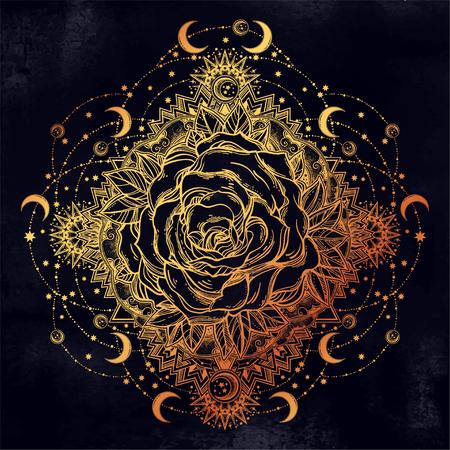 Rose flower in mandala of moons, beads and stars.