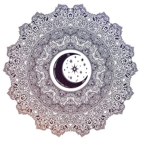 Beautiful ornate Mandala crescent moon, star shape