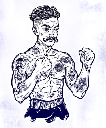 Vintage tattooed retro boxer fighter champion. Illustration