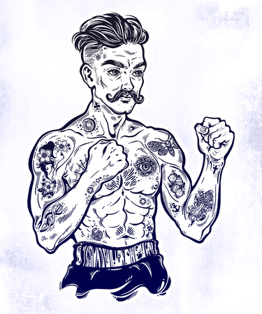 Vintage tattooed retro boxer fighter champion. 일러스트