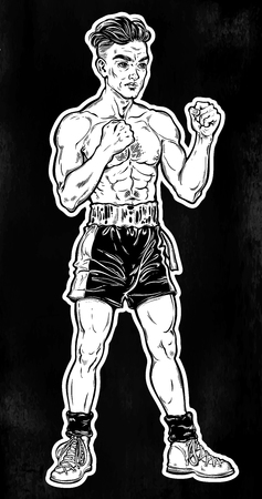 Vintage retro boxer fighter, player illustration. Illustration