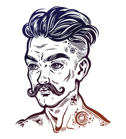 Portrait of inked mustached man with short hair.