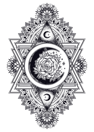 Ornate composition with sacred geometry moon rose. Illustration