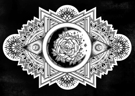 Ornate composition with sacred geometry moon rose. 일러스트