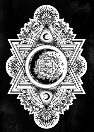 Ornate composition with sacred geometry moon rose. 向量圖像