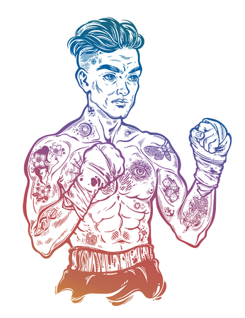 Vintage tattooed retro boxer fighter champion. Illustration
