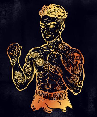 Tattooed boxer fighter illustration
