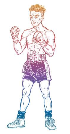 Vintage retro boxer fighter, player illustration. Ilustrace