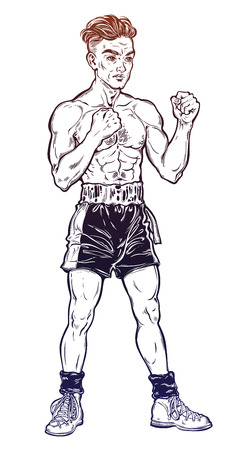 Vintage retro boxer fighter, player illustration. 矢量图像