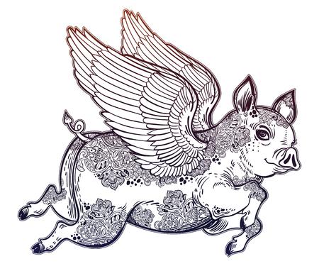 Flying tattooed winged pig illustration.