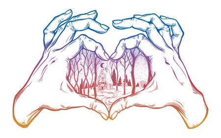 Two hands making heart sign with cabin in winter. Illustration