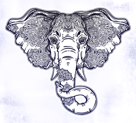 Decorative elephant portrait with beautiful with lotus flower.