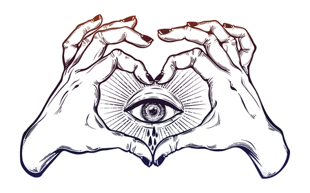 Two hands making heart sign with eye crying watery tears. Alchemy, religion, spirituality, occultism, tattoo art. Isolated vector illustration. Decorative drawing in flash tattoo style.