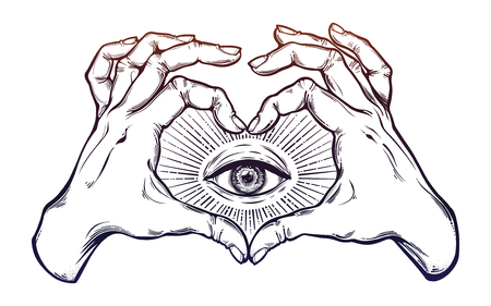 Two hands heart sign with all seeing eye symbol. Zdjęcie Seryjne - 100593862