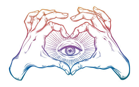 Two hands heart sign with all seeing eye symbol.