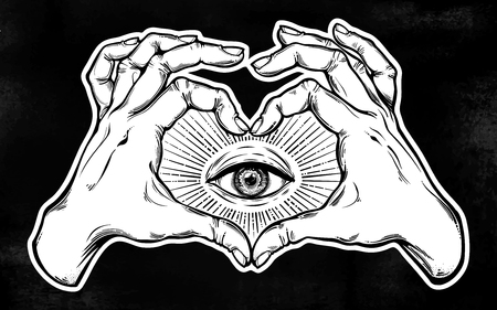Two hands making heart sign with all seeing eye symbol. Vision of providence, alchemy, religion, spirituality, occultism, tattoo art isolated vector illustration.