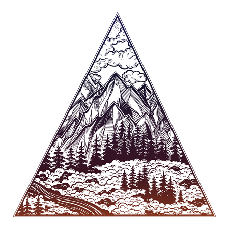 Triangle Frame Artwork With Wilderness Landscape Scene With A ...
