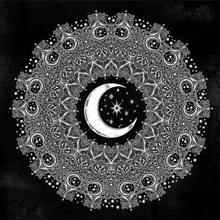 Beautiful ornate Mandala shape crescent moon, star shape. Islamic decoration. May be used as art for Islamic Ramadan Kareem - glorious month of Muslim year. Isolated vector illustration. 일러스트