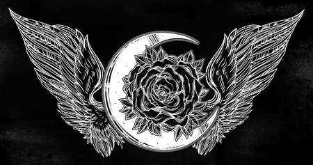 Rose flower beautiful bouquet with beads, crystal gemstones and Angel or bird wings. Blackwork tattoo flash. Vintage flower. Highly detailed vector illustration isolated.