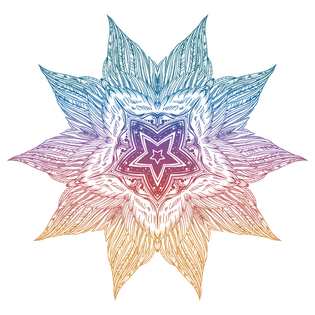 Ornate mandala made of decorative vintage feather wings with a star in the middle. Illustration