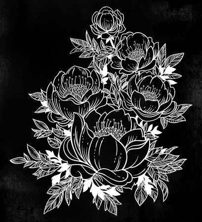 Beautiful stem of magnolia, dogrose or peony flowers. Vector illustration imitates traditional Chinese ink painting. Graphic hand drawn floral pattern. Textile fabric design. Golden inking.