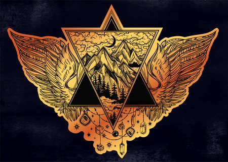 Triangular frame with mountains and wings in tattoo flash style