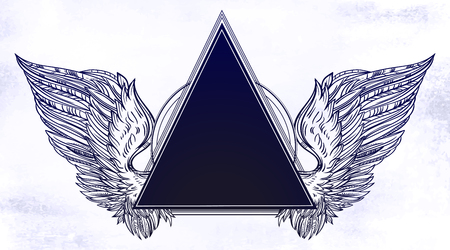 Surreal triangle frame with angel or bird wings in tattoo flash style for your use. Illustration