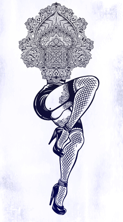 Surreal unique dancing inked female legs with abstract ornate atrwork on top. Illustration