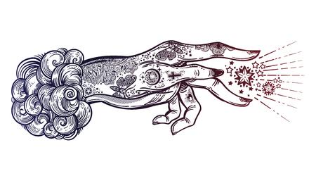 Flash magic. Inked human hand, sending magic hypnosis beam drawing.