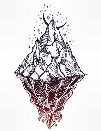 Hand drawn beautiful iceberg, sky with crescent moon. Glacier design. Illustration