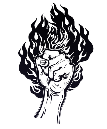Raised inked hand as a fist gesture with fire burning. Ilustração