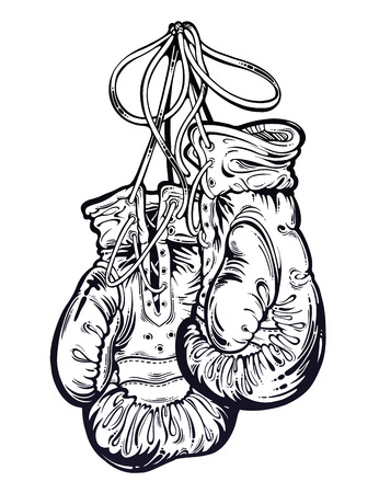 Vintage boxing gloves hanging from the wall. Isolated vector illustration.
