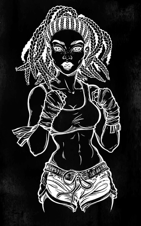 Black, African American woman boxing fighter with braided hair doing martial arts with hands wrapperd.