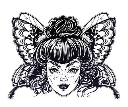 Beautiful butterfly or moth with elf girl face. Ornate decorated fairy wings.