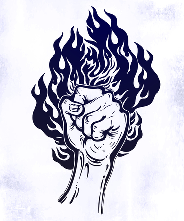 Raised inked hand as a fist gesture with fire burning. Reklamní fotografie
