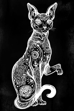 Vintage style cat with body flash art tattoos.  イラスト・ベクター素材
