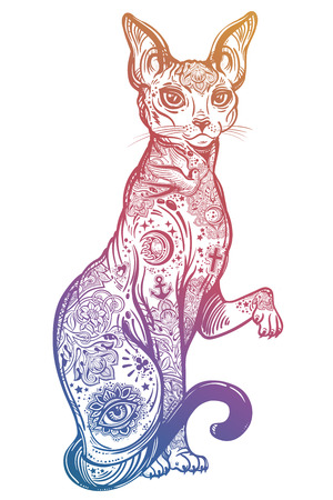 Vintage style cat with body flash art tattoos. Ilustração