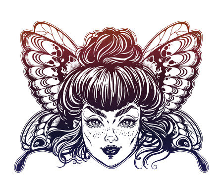 Beautiful butterfly or moth with elf girl face. Ornate decorated fairy butterfly wings.