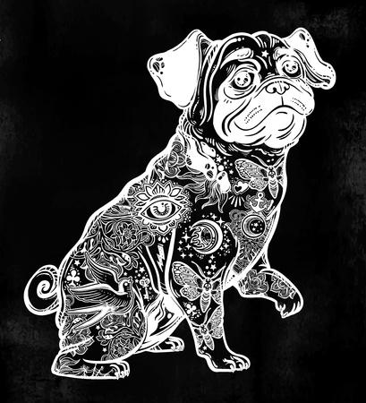 Vintage bulldog or pug decorated in flash tattoos. Stock Illustratie