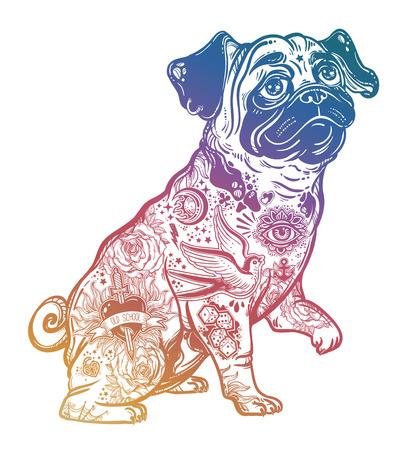 Vintage bulldog or pug decorated in flash tattoos. Illustration