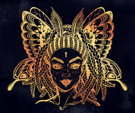 Beautiful butterfly or moth with elf girl face with African American feautures, fairy wings.
