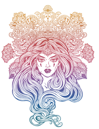 Girl with beautiful long hair in art nouveau style with ornate head piece.