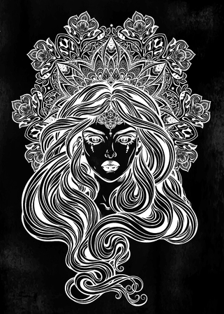 Girl with beautiful long hair in art nouveau style with ornate mandala.