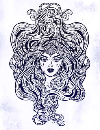 Pretty girl with beautiful long hair in art nouveau style. Stock Illustratie